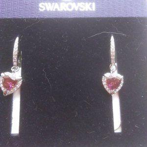 Swarovski New Red Crystal Heart Earrings